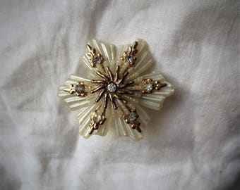 Vintage Celluloid Flower Pearlescent Ruffle Brooch set off with Gold & Rhinestones  Beautiful Detail