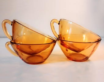 Set of 4 Vereco amber glass cups - 1970's