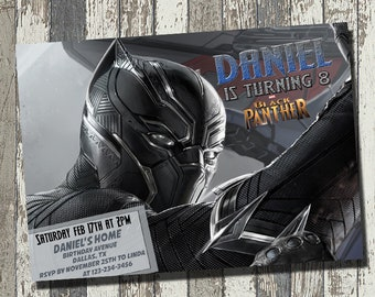 Black Panther Invitation, Black Panther Birthday Party, Black Panther Birthday Invitation, Personalized, Digital File