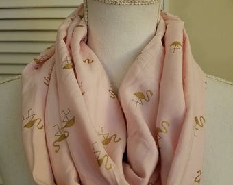 Infinity Scarf, Flamingo Foil Scarf, Women's Accessories