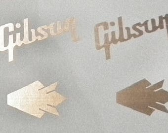 2 Gibson Logo and 2 Crown Logo Guitar Decals Waterslide All Colors  Top Quality!