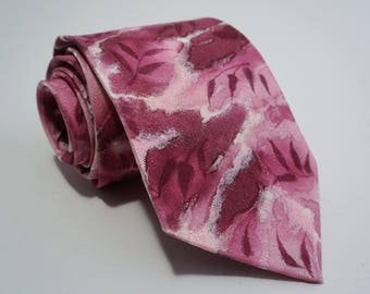 """Pink Melody"" hand-painted jewelry necklace silk tie"
