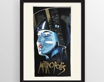 NOT A PRINT - Original Art - Metropolis Film Poster Art - Sci-fi - Great Gift!