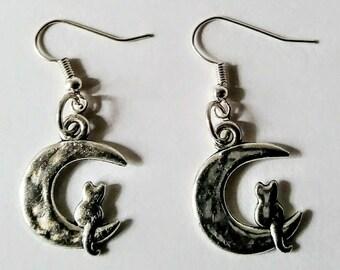 Feline Cresent Moon Earrings
