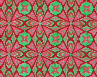 Pattern Painting on Paper, Red-Pink-Green Pattern, 2017