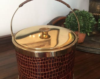 Vintage Faux leather ice bucket