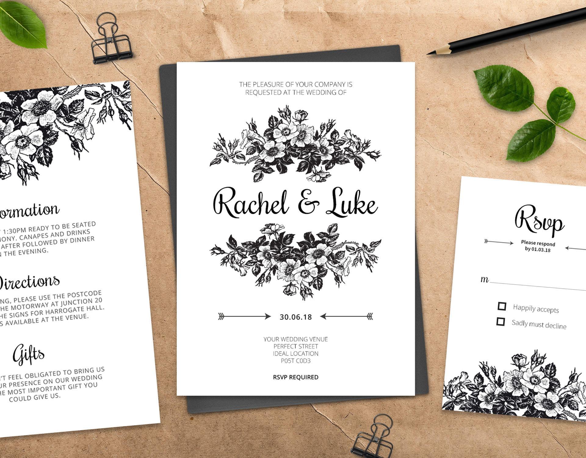 Printable Wedding Invitations Suite   DIY Wedding Invite Template ...