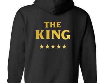 THE King and HIS Queen Top Quality Hoodie His & Her ,GOLD, Duo New Matching Couple