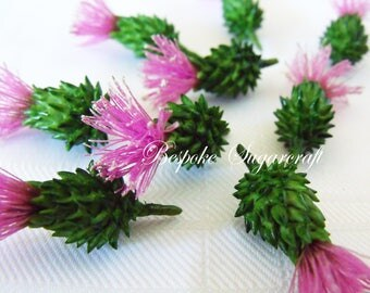 Set of 12 Sugarcraft Thistle Heads for Any Occasion Cake, Thistle cake topper, cupcake topper, scottish wedding cake toppers