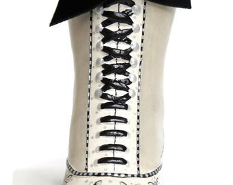 Miniature Vintage Victorian Shoe Style Pin Cushion, (White Boot with Black Shoelace), Embroidery, Sewing, Pin & Needle Accessories