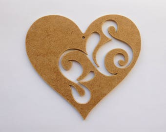 Hand Crafted MDF 'Hearts Within A Heart' or 'Tracery'. Hanging Shapes Heart  Unfinished Mdf. Decorations for wedding/Valentine's Day