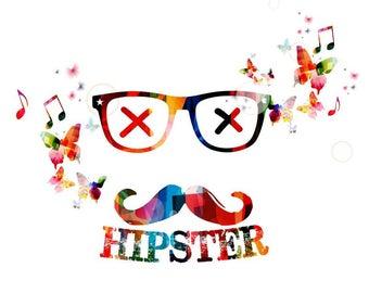 Abstract Colorful  hipster  artwork with butterflies  Art Print Poster Matt / Silk