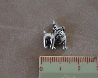 Silver metal charms: dog Bulldog (x 2)