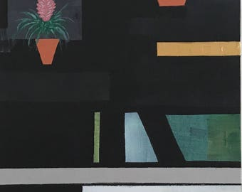 Futuristic Black Interior - Original Abstract Art Painting