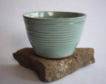 Green Ridged Detail Pottery Bowl