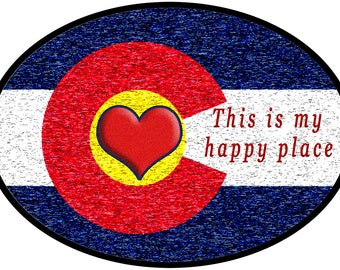 Colorado Happy Place Oval Vinyl Sticker