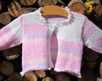 Hand Knitted Toddler Cardigan in Pink, Lilac, Orange and White