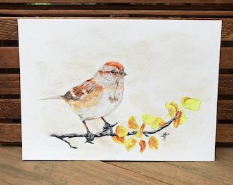 Sparrow in autumn