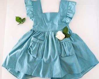Pinafore dress in sea foam blue