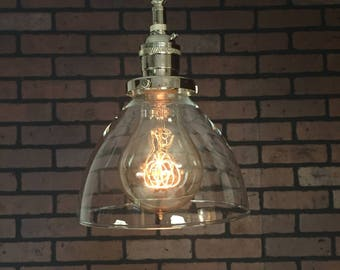 """Industrial Pendant Light -Chrome 6"""" Clear Glass Cone Shade with Patent Pending """"SIMPLE PLUG"""" Electrical Connectors and Edison Victorian Bulb"""