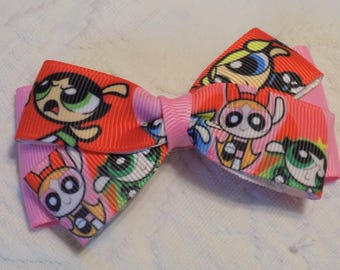Power Puffs Girl's Hair Bow - Hair bow, Hair bow for girl, Toddler hair bow, Hair clip, Girl hair clip, Barrettes for girl, Little girl bow