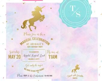 Pastel Unicorn Party Invitation DIGITAL