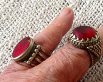 Vintage Bedouin silver ring with red stone.