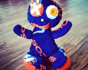"""13"""" Handmade/Denver Broncos/stuffed monster/fleece bronco doll/hand stitched bronco monster/bronco fan stuffed monster"""