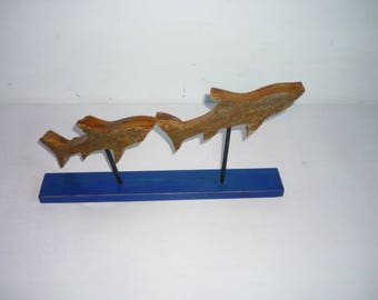 FISH shark driftwood on blue base