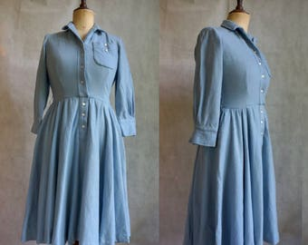 Periwinkle Blue 1950s Wool Dress / Vintage Shirtwaist Dress