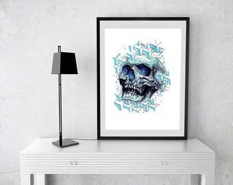 Geo Skull Tattoo Print