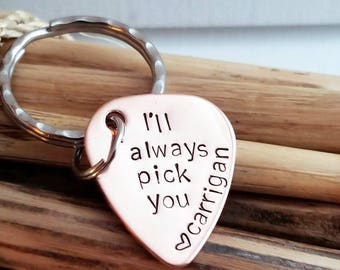 Guitar Pick Key Chain,  Anniversary for Him,Gift for Boyfriend, Gift for Fiance, Personalized, Anniversary Gift for Him