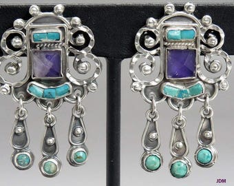 Signed Matl Matilde Poulat Mexican Sterling Silver Amethyst Turquoise Earrings