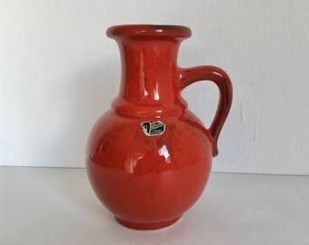 Silberdistel 334/19 West German pottery vase, red vase fat lava vase German ceramic vase 60s, modernist design home decor