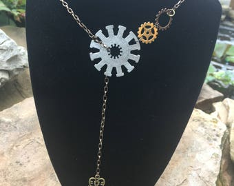 Steampunk gears and key lariat necklace