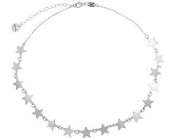 Women's Chocker necklace with 16 stars, in silver 925 HandMade in Italy. Must-Have F/W 2018