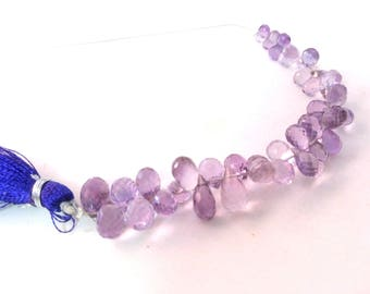 """Top Quality Natural Amethyst Tear Drops Briolettes, Faceted Tear Drops Beads, Gemstone For Jewelry,3x5-6x10 mm, 4""""Inch,6""""Inch,8""""Inch"""
