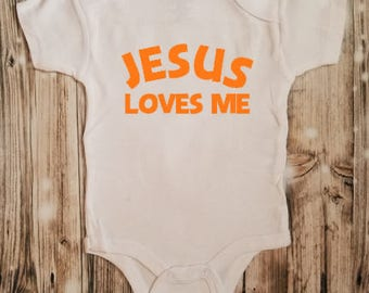 Jesus Loves Me Baby Bodysuit - Christian Baby Shower Gift - Religious Baby Shower Gift - New Baby Religious Clothing