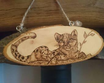 Hanging Woodburn Decoration (Margay)