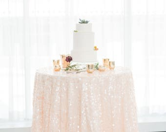 Peach Sequin Tablecloth | Sequin Table Linen | Sequin Tablecloth | Elegant Wedding Decor | Blush Champagne Wedding | Sequin Table Runner