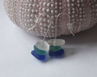 Earrings in 925 sterling silver and French sea glass