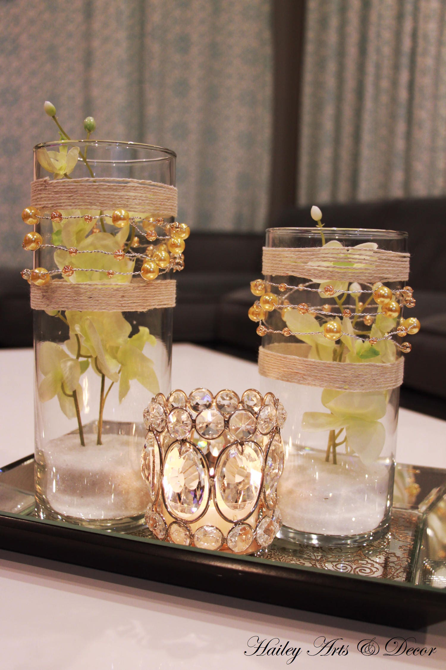 Wedding centerpiece gold pearl beads wire ribbon twine silk