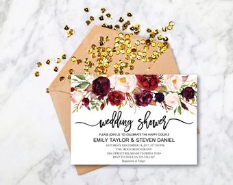 Wedding Shower Invitation, Fall Floral Bridal Shower Card, Couples Shower Invite, Editable Card Printable Instant Download Wedding Shower 04