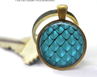 MERMAID SCALES Key Ring • Turquoise Scales • Dragon Scales • Jade Mermaid Scales • Fish Scales • Gift Under 20 • Made in Australia (K467)