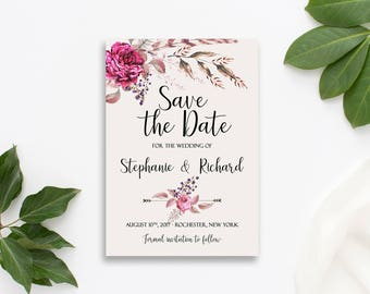 Save the Date Printable Floral Digital Wedding Vintage Roses Watercolor Bohemian Save the Date Invite WS-017