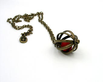Long necklace with brass cage, necklace with ball, monalisa