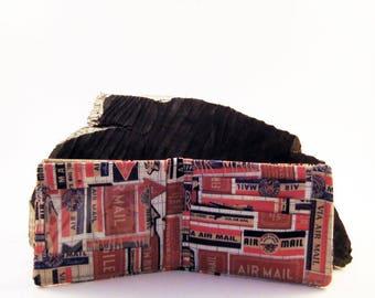 Vintage Airmail Print - Mens wallet- Boys Wallet - Bifold Wallet- Cotton wallet - Money Holder - Gift idea - For Him