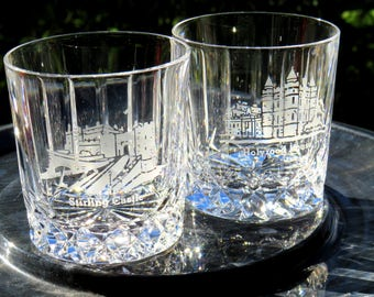 Edinburgh Crystal Whiskey cups—Signed-Souvenir glasses-MINT