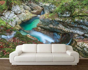 Amazing Landscape Wall Mural, Nature Wall Decal, Waterfall Wall Mural, Wall Mural  Stones, Part 32