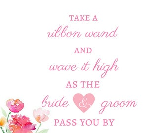 Wedding Ribbon Wand Sign - 8x10 - Instant Download